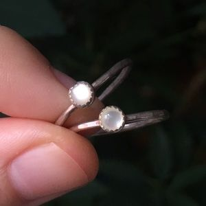 Jewelry - sterling silver mini mother of pearl stacking ring